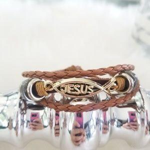 Tan boho gold JESUS bracelet